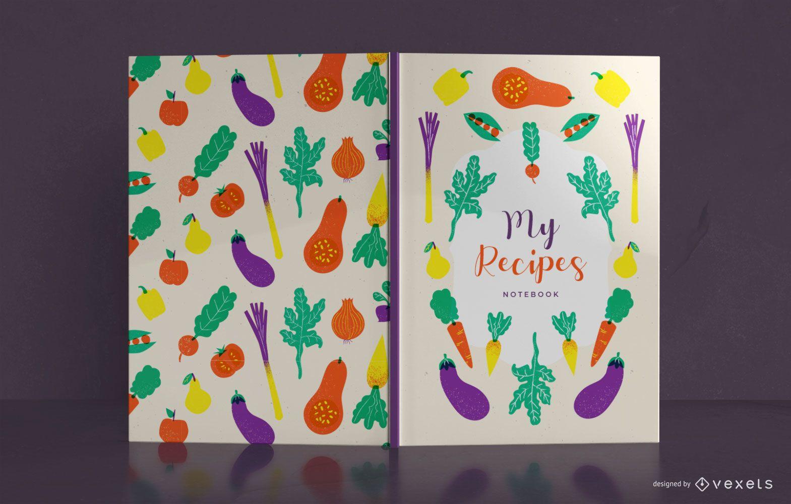 Diseño de portada de libro de recetas de verduras