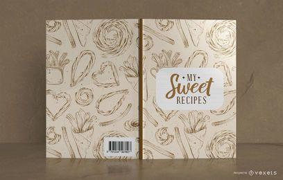 Design de capa de livro de receita doce