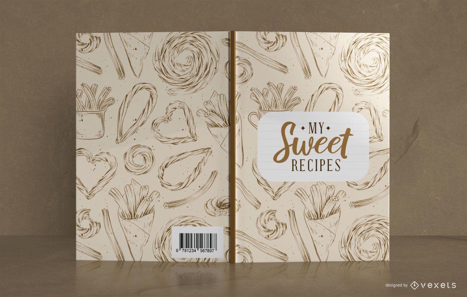 Diseño de portada de libro de recetas dulces