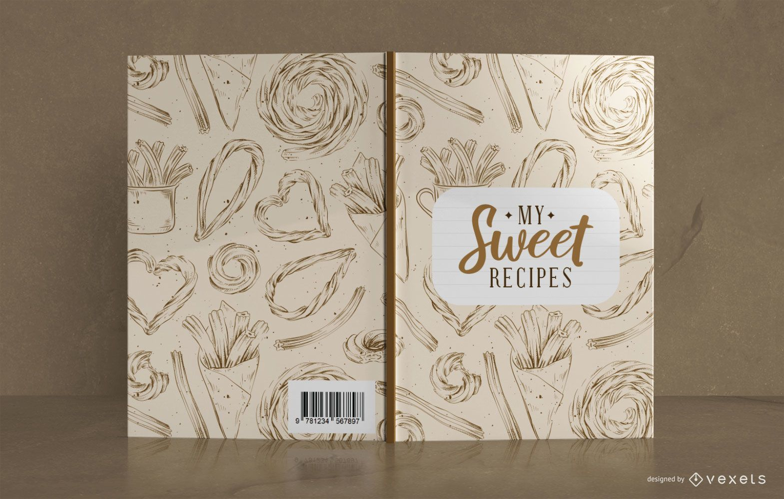 Sweet Recipe Book Cover Design