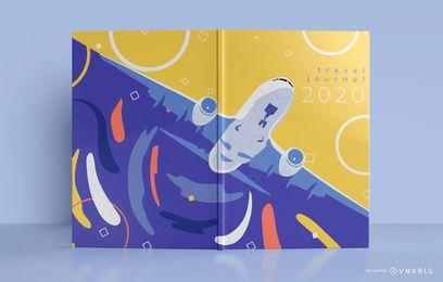 Diseño de portada de libro de viaje en avión