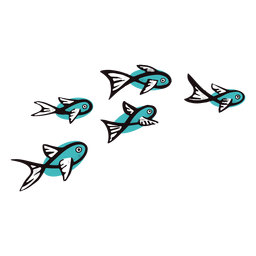 Blue fishes swimming