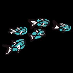 Peces azules nadando