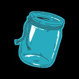 Mão azul jar desenhado