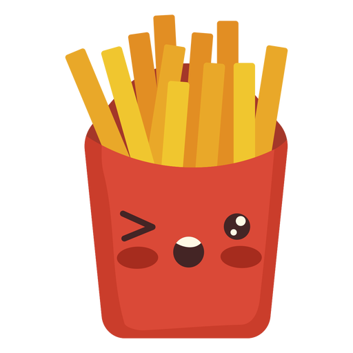 Flat kawaii fries Transparent PNG