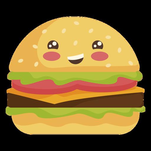 Flat kawaii hamburger