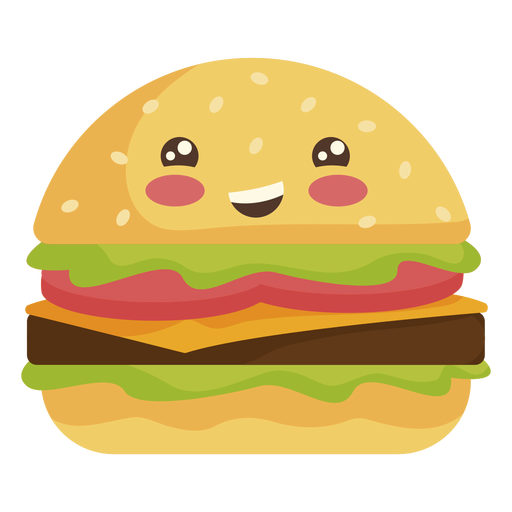 Hamburguesa kawaii plana