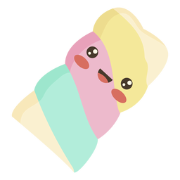 Flat kawaii marshmallow candy