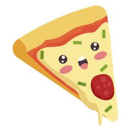 Flache kawaii Pizza