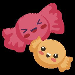 Flache kawaii zwei Bonbons