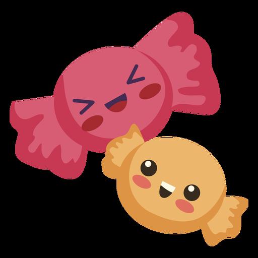 Flat kawaii two candies