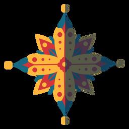 Mandala plana azul vermelho