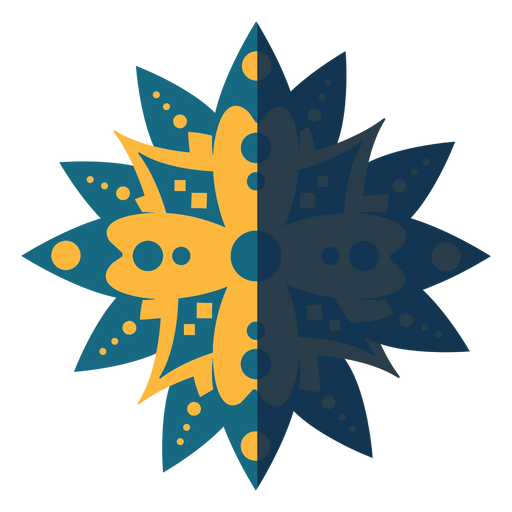 Mandala plana azul amarillo