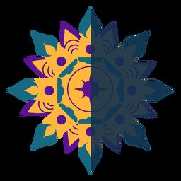 Violeta de mandala plana azul