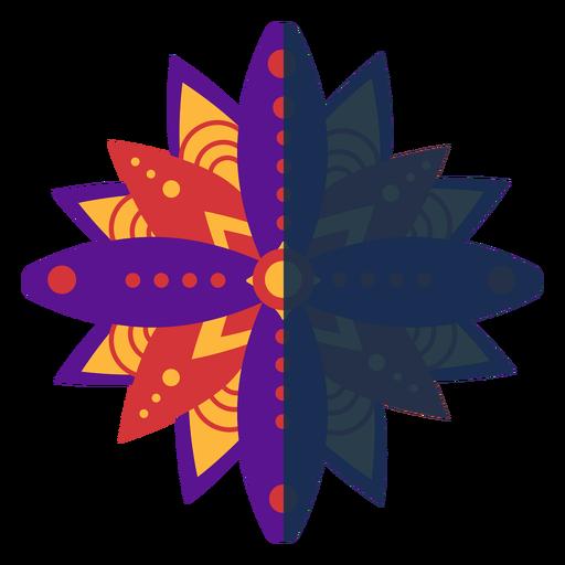 Mandala plana violeta rojo
