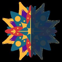 Flaches Mandala gelb rot