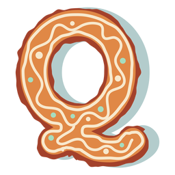 Gingerbread cookie letter q