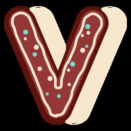 Gingerbread letter v