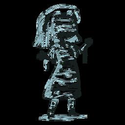 Dibujado a mano personaje niño momia