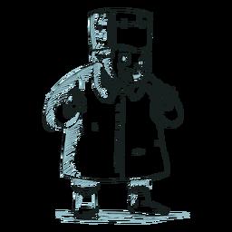 Personagem de criança desenhada mão frankenstein