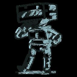Mão desenhada garoto personagem robocop