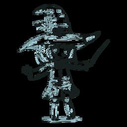 Bruja de personaje de niño dibujado a mano