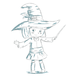 Bruja de personaje infantil dibujado a mano
