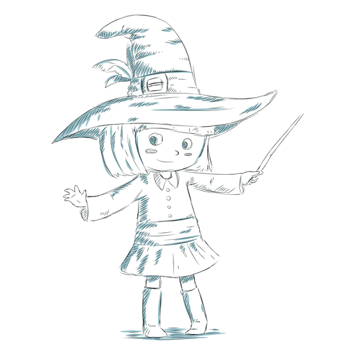 Hand drawn kid character witch Transparent PNG