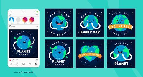 Pacote de postagem de mídia social da Praça do Dia da Terra