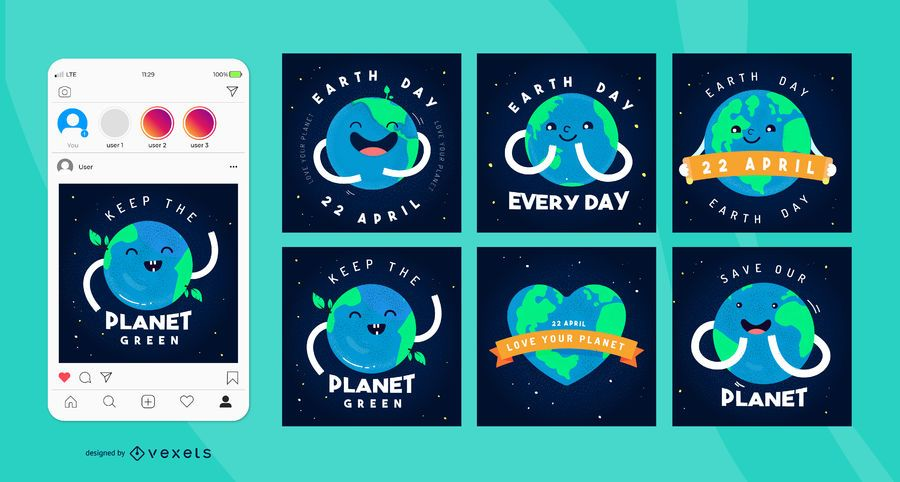 Earth Day Square Social Media Post Pack