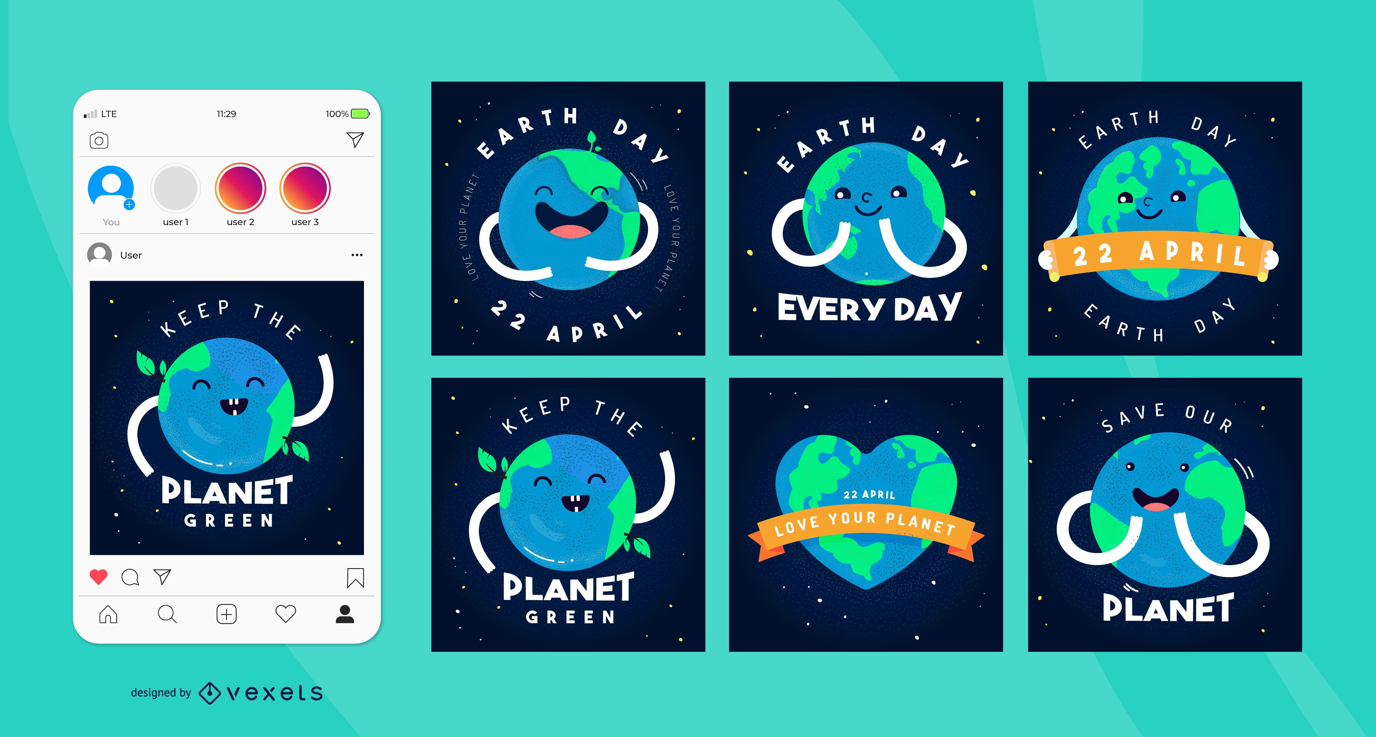 Paquete de publicaciones de redes sociales de Earth Day Square