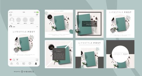 Lifestyle social media post template set