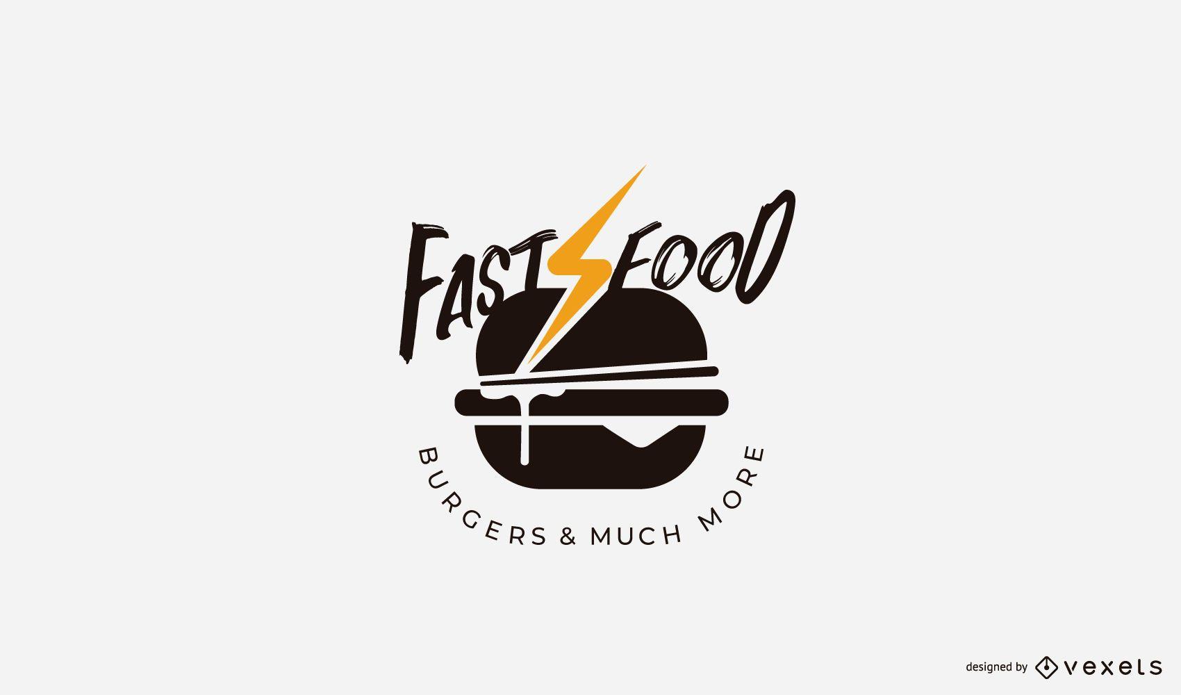 Modelo de logotipo de hambúrguer fast food