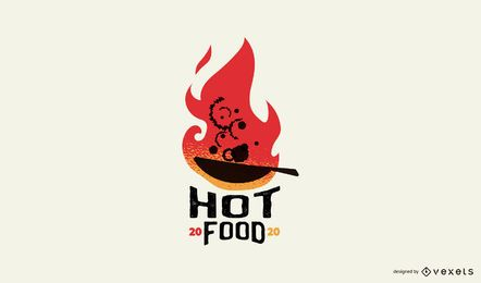 Hot food logo template