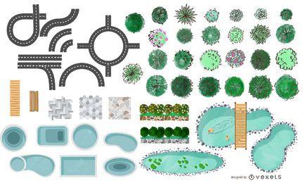 Pacote de elementos do parque de arquitetura urbana