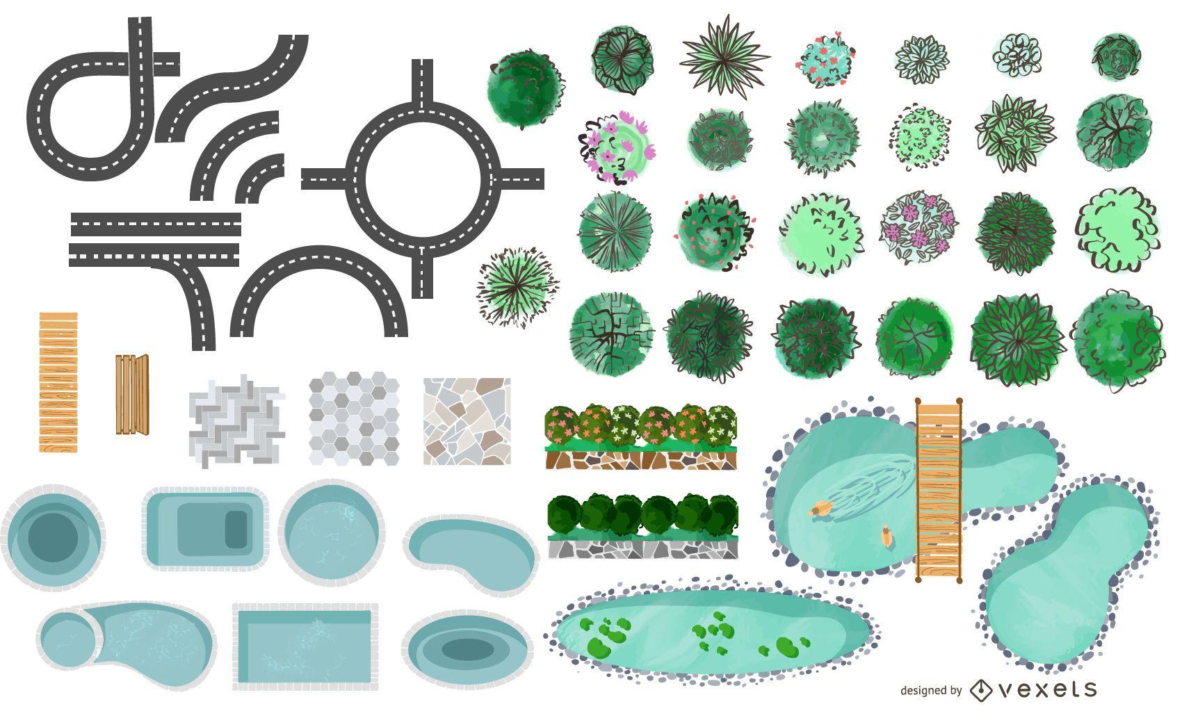 Paquete de elementos de parque de arquitectura urbana