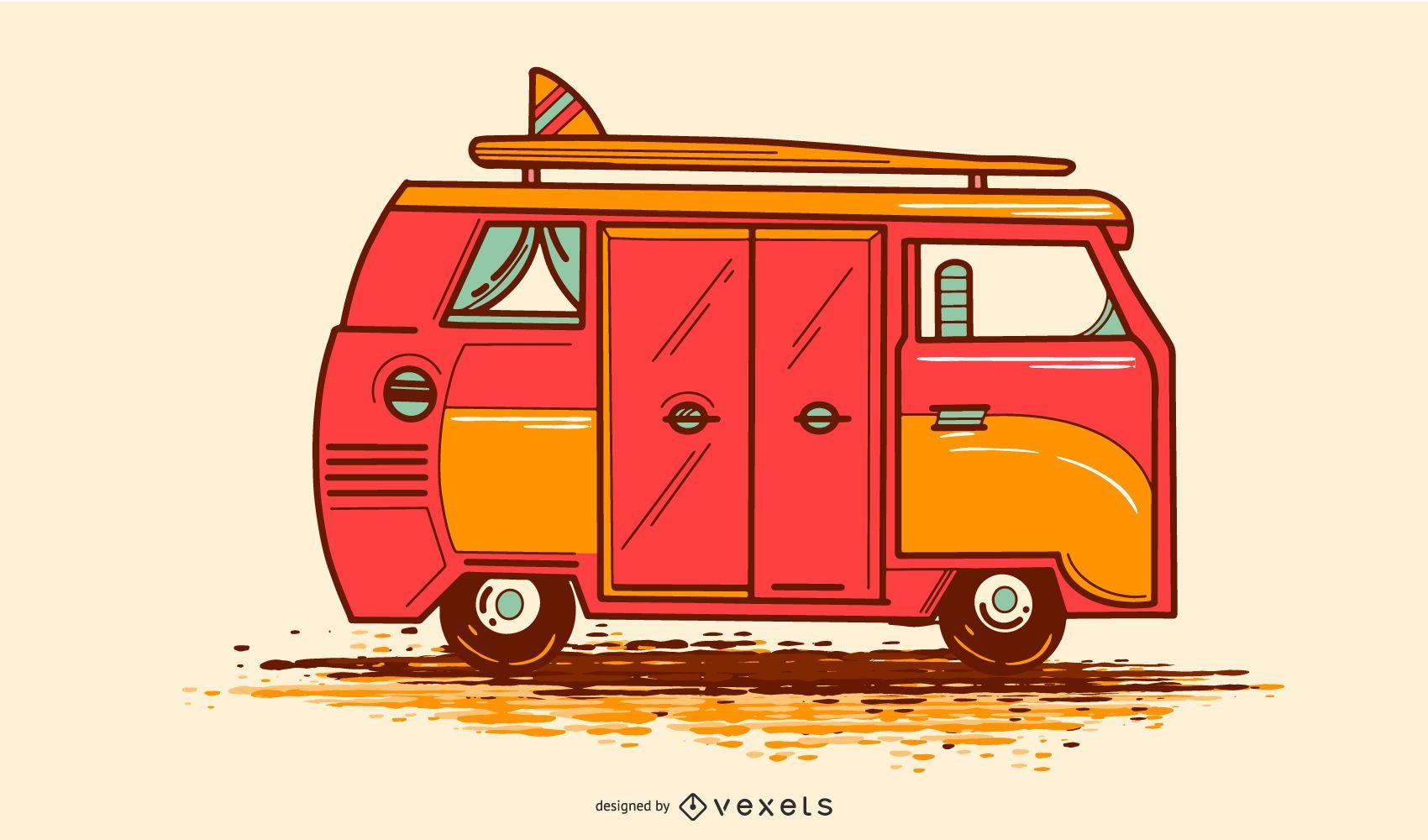 VW Camper Illustration Design