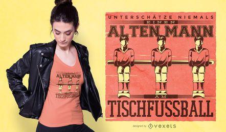 Design de t-shirt de citação alemão de futebol de mesa