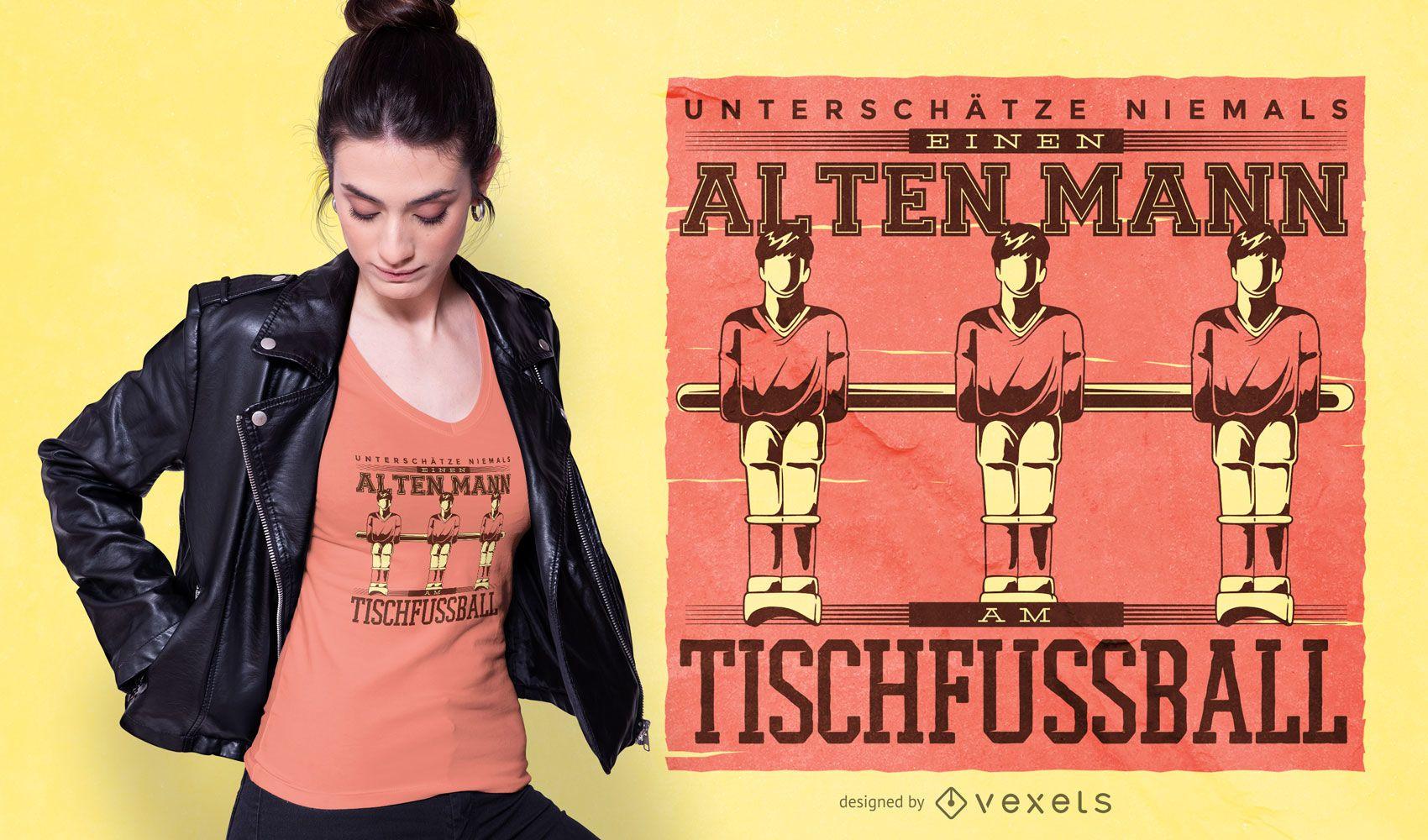 Diseño de camiseta de fútbol de mesa con cita alemana