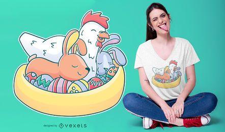 Design de t-shirt de animais de Páscoa