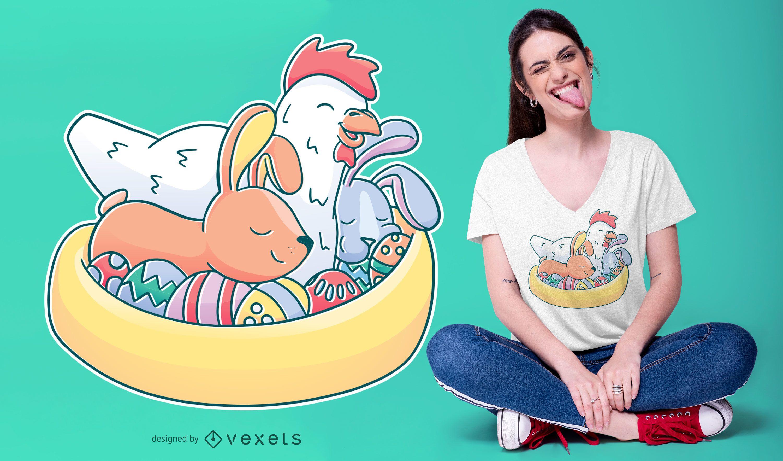Diseño de camiseta de animales de Pascua