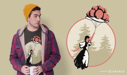 Design de t-shirt de chapéu de balão para meninas