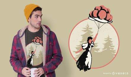 Mädchen Ballon Hut T-Shirt Design
