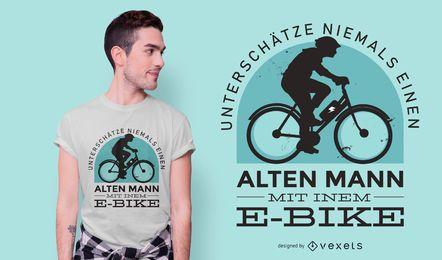 Diseño de camiseta de cita alemana de bicicleta eléctrica