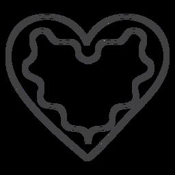 Icono de trazo corazón de pan de jengibre