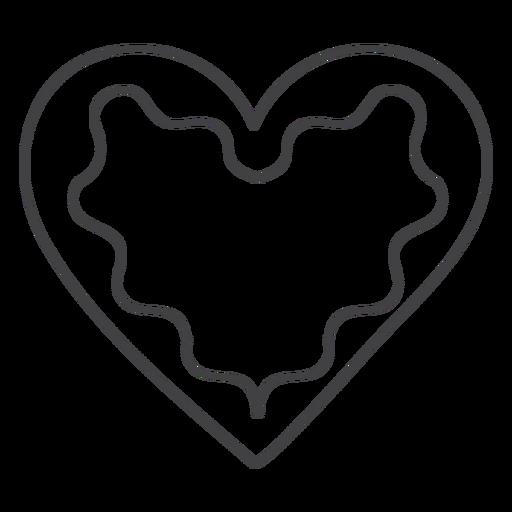 Corazón de pan de jengibre de trazo de icono