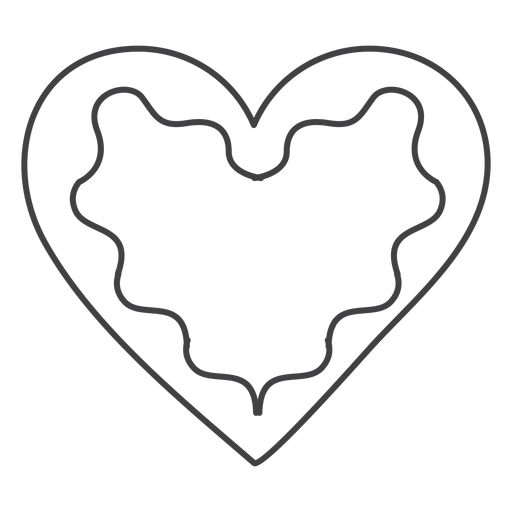 Icon stroke gingerbread heart Transparent PNG