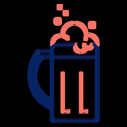 Icono trazo taza cerveza color