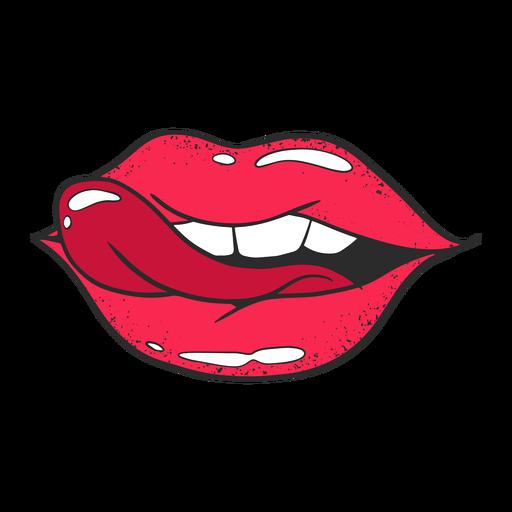Lábios de ilustração vermelho Transparent PNG