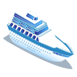 Isometric transport blue ship